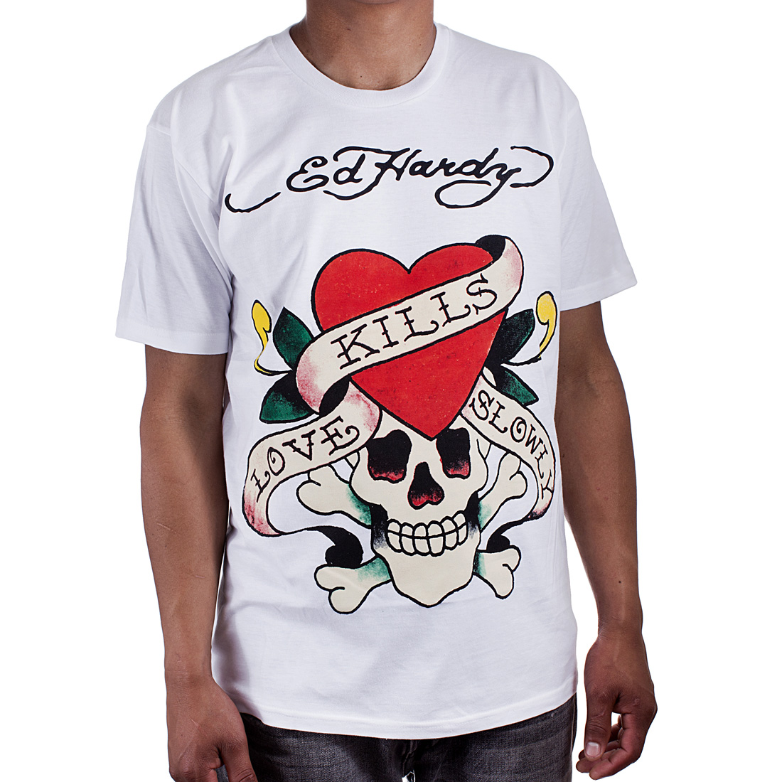 Ed Hardy Mens Love Kills Slowly Graphic Tee Shirt - White