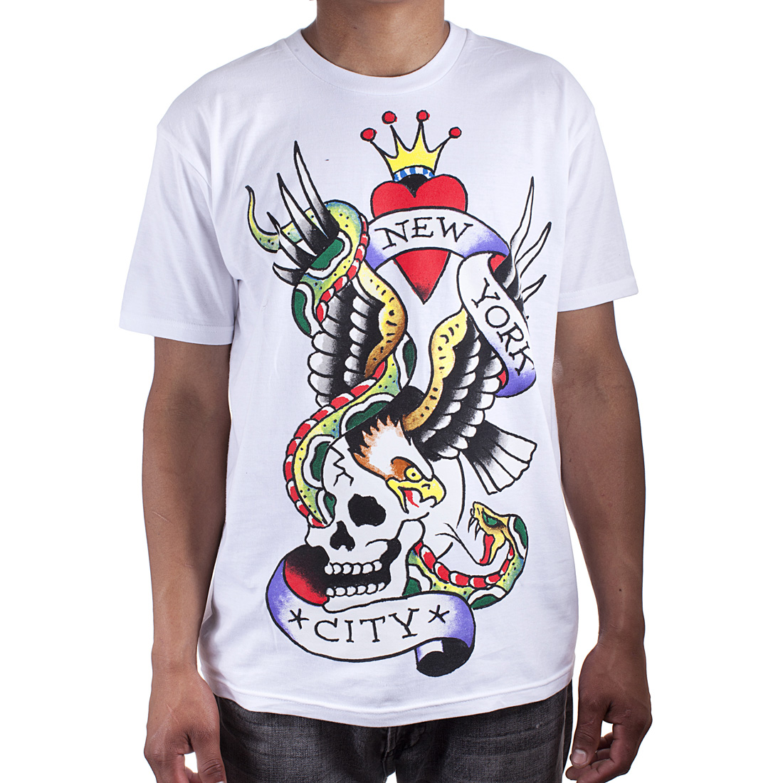 Ed Hardy Mens New York City Graphic Tee Shirt - White