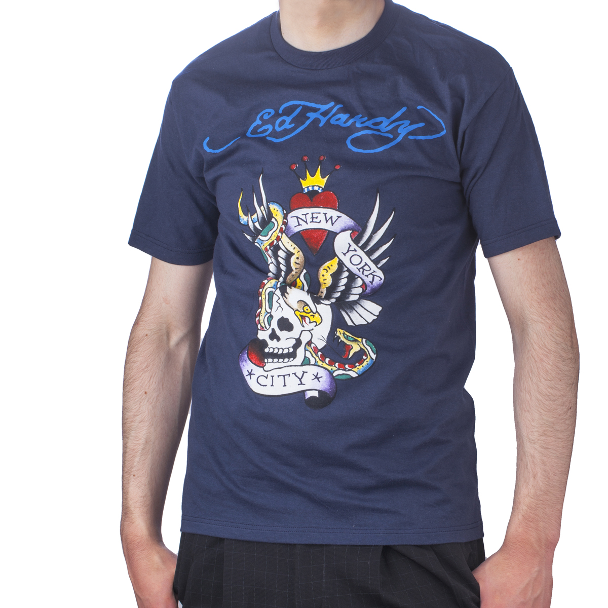 Ed Hardy Mens New York City Graphic Tee Shirt - Navy