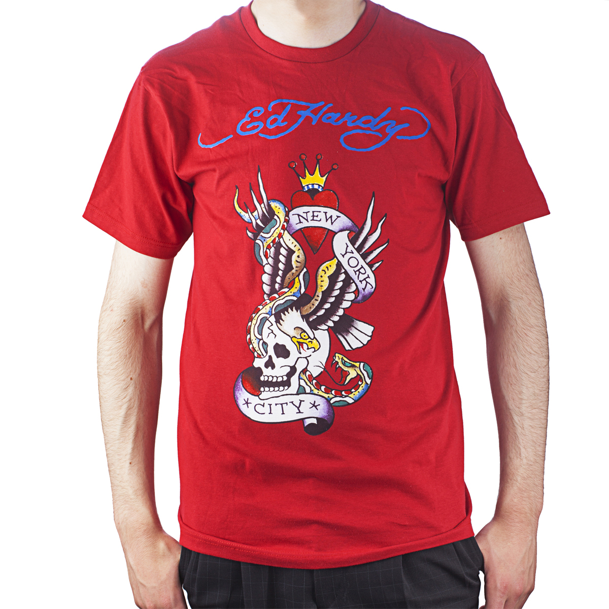 Ed Hardy Mens New York City Graphic Tee Shirt - Red