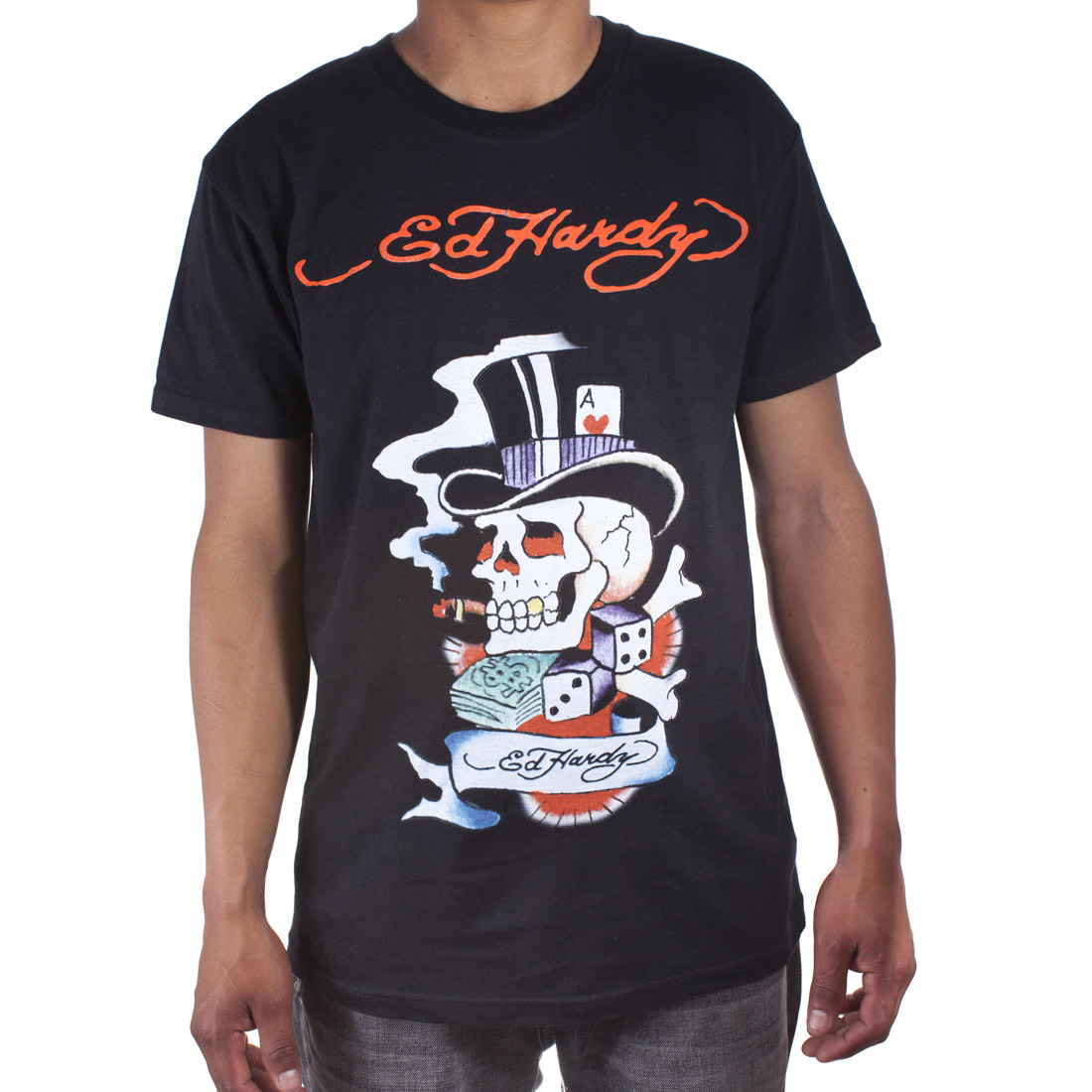 Ed Hardy Mens Smoking Magic Skull Graphic Tee Shirt - Black