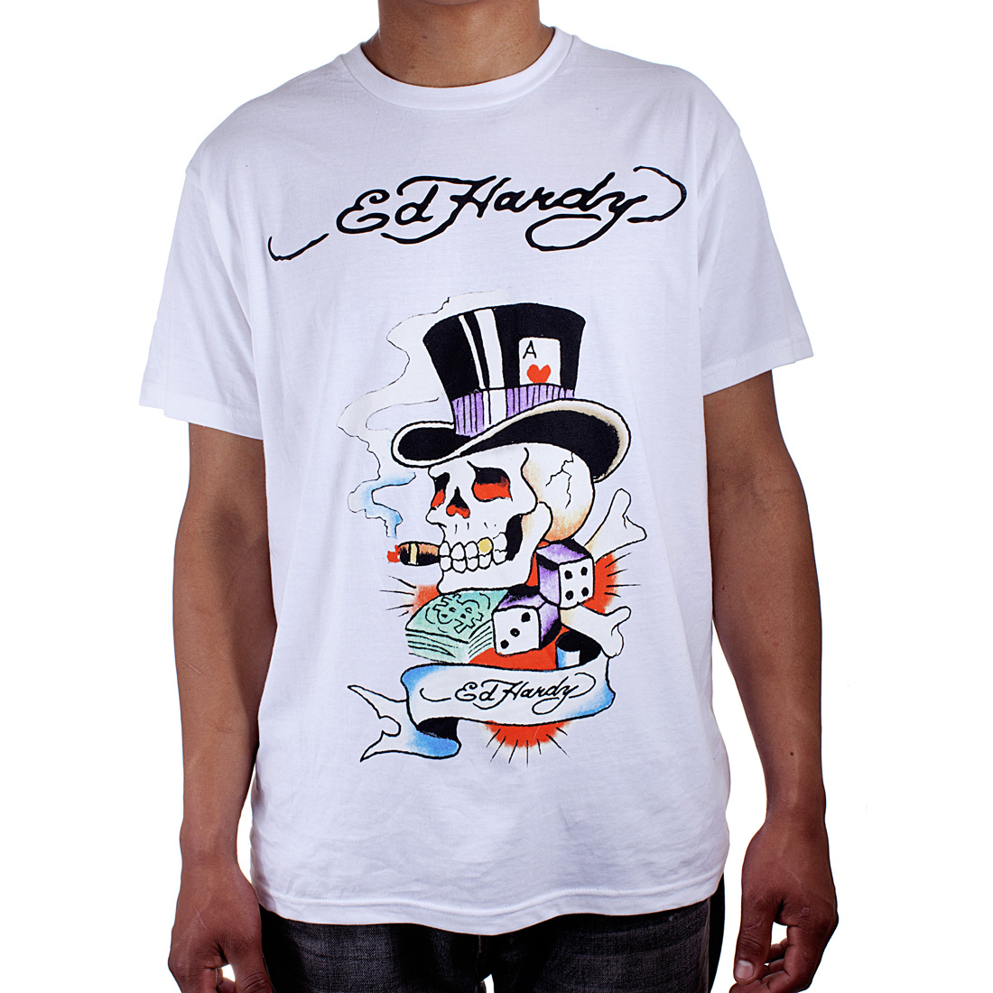 Ed Hardy Mens Smoking Magic Skull Graphic Tee Shirt - White