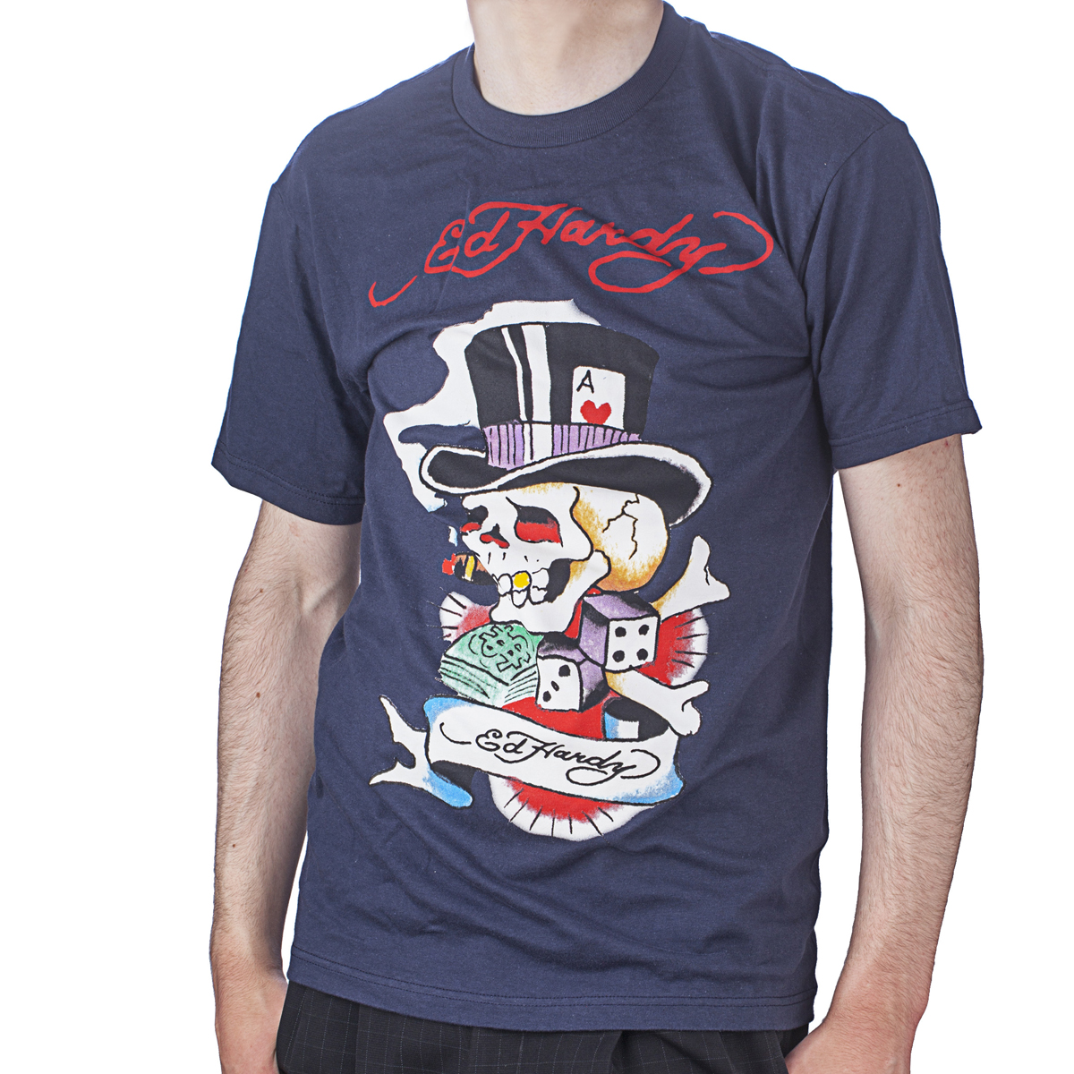 Ed Hardy Mens Smoking Magic Skull Graphic Tee Shirt - Navy