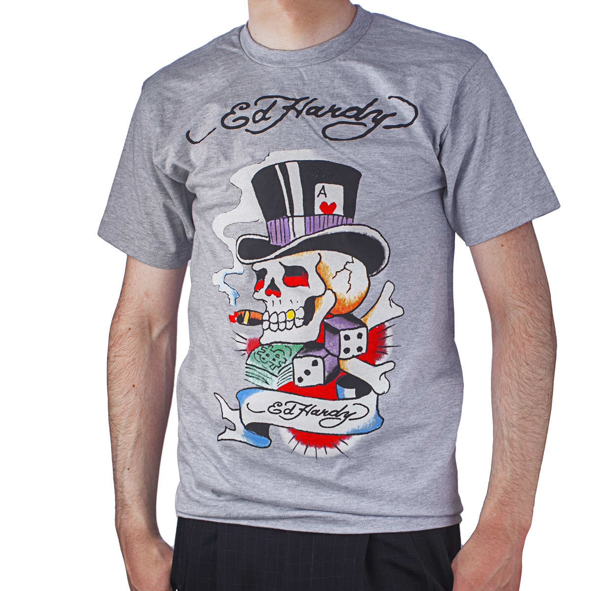 Ed Hardy Mens Smoking Magic Skull Graphic Tee Shirt - Grey