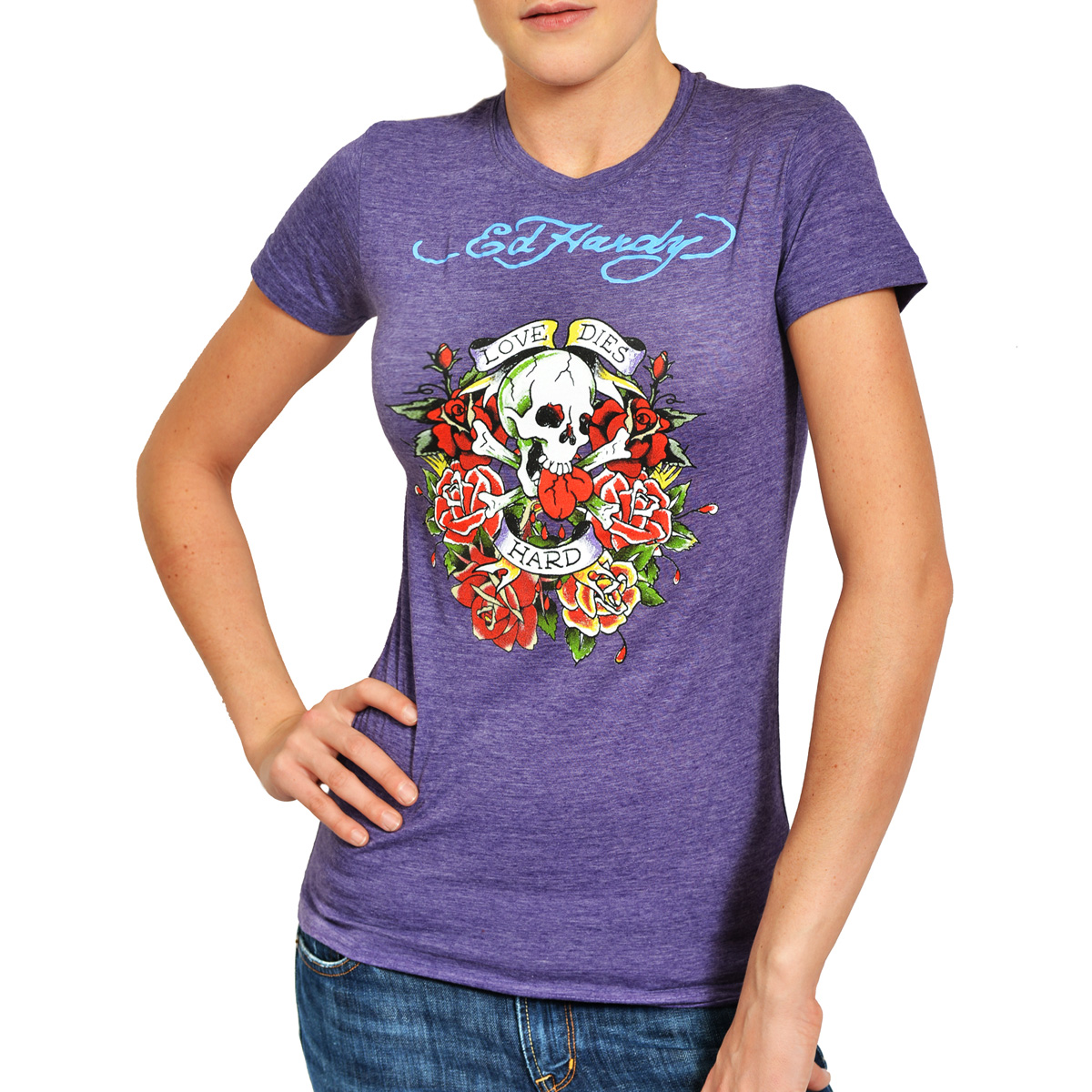 Ed Hardy Womens Love Dies Hard Graphic Tee Shirt - Purple