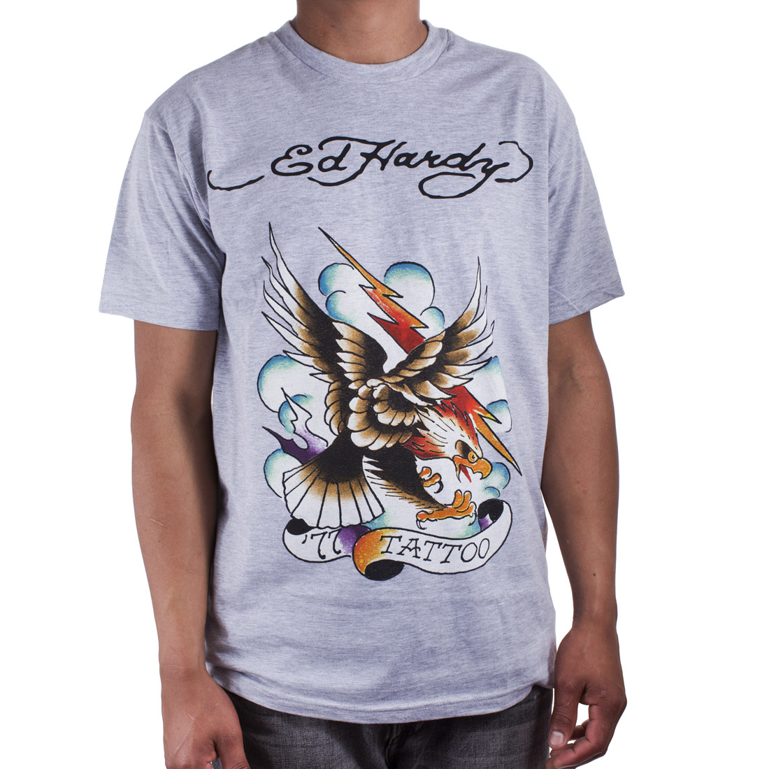 Ed Hardy Mens 77 Eagle Tattoo Graphic Tee Shirt - Grey