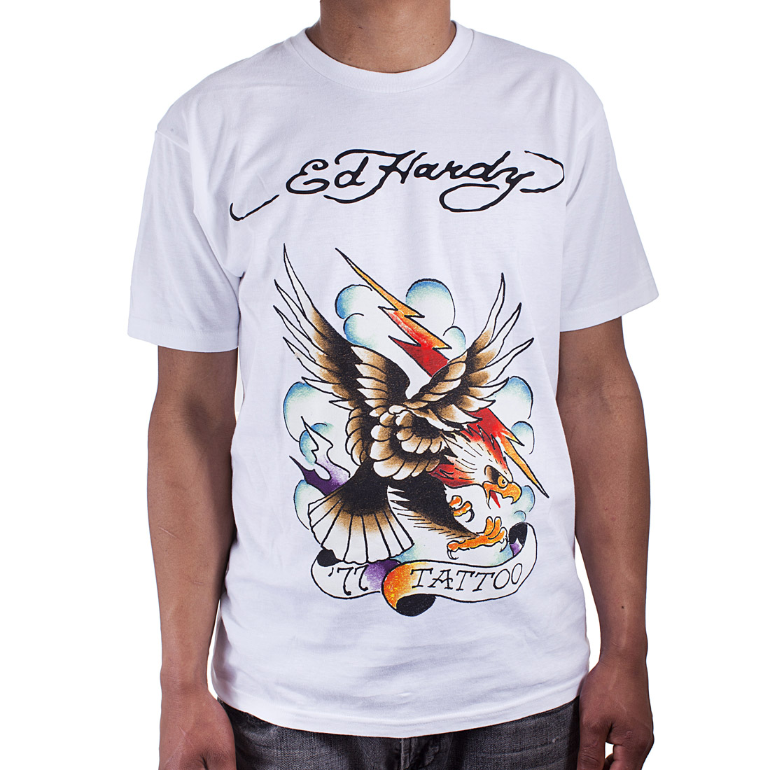 Ed Hardy Mens 77 Eagle Tattoo Graphic Tee Shirt - White