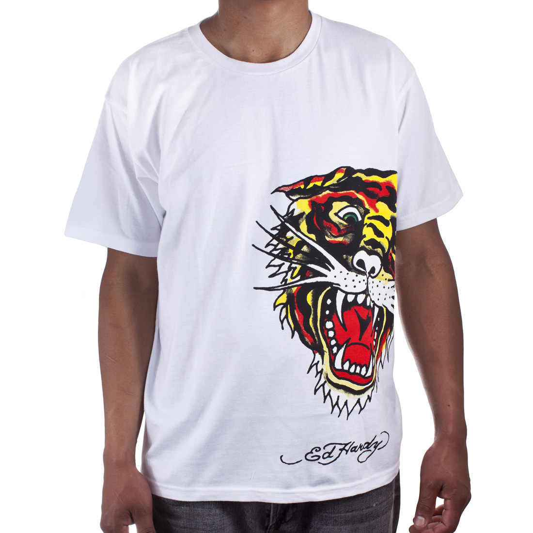 Ed Hardy Mens Tiger Tattoo Graphic Tee Shirt - White
