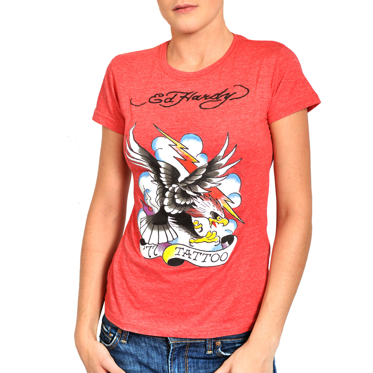 Ed Hardy Womens Tattoo Eagle Tee Shirt - Red