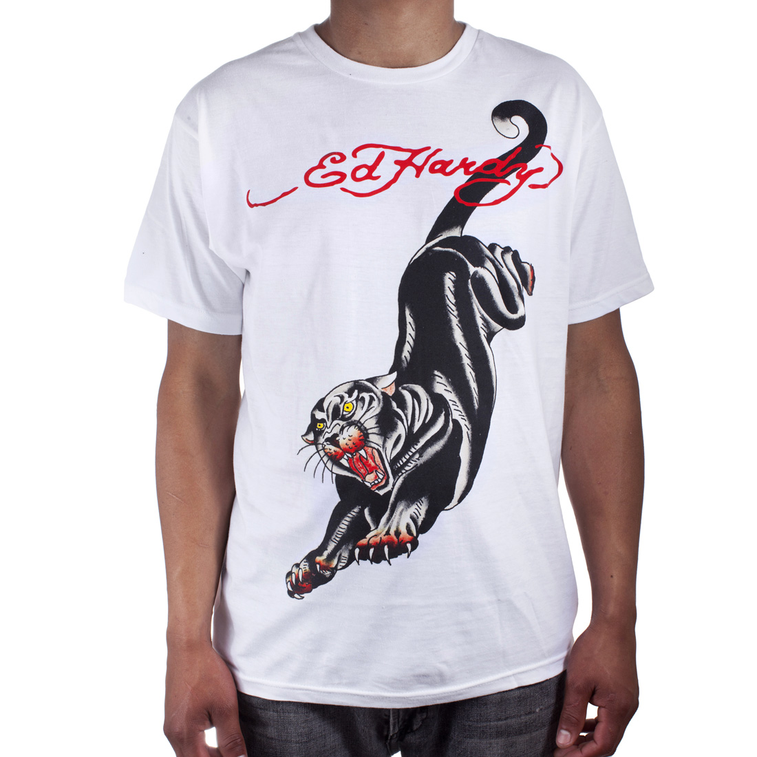 Ed Hardy Mens Panther Tattoo Graphic Tee Shirt - White