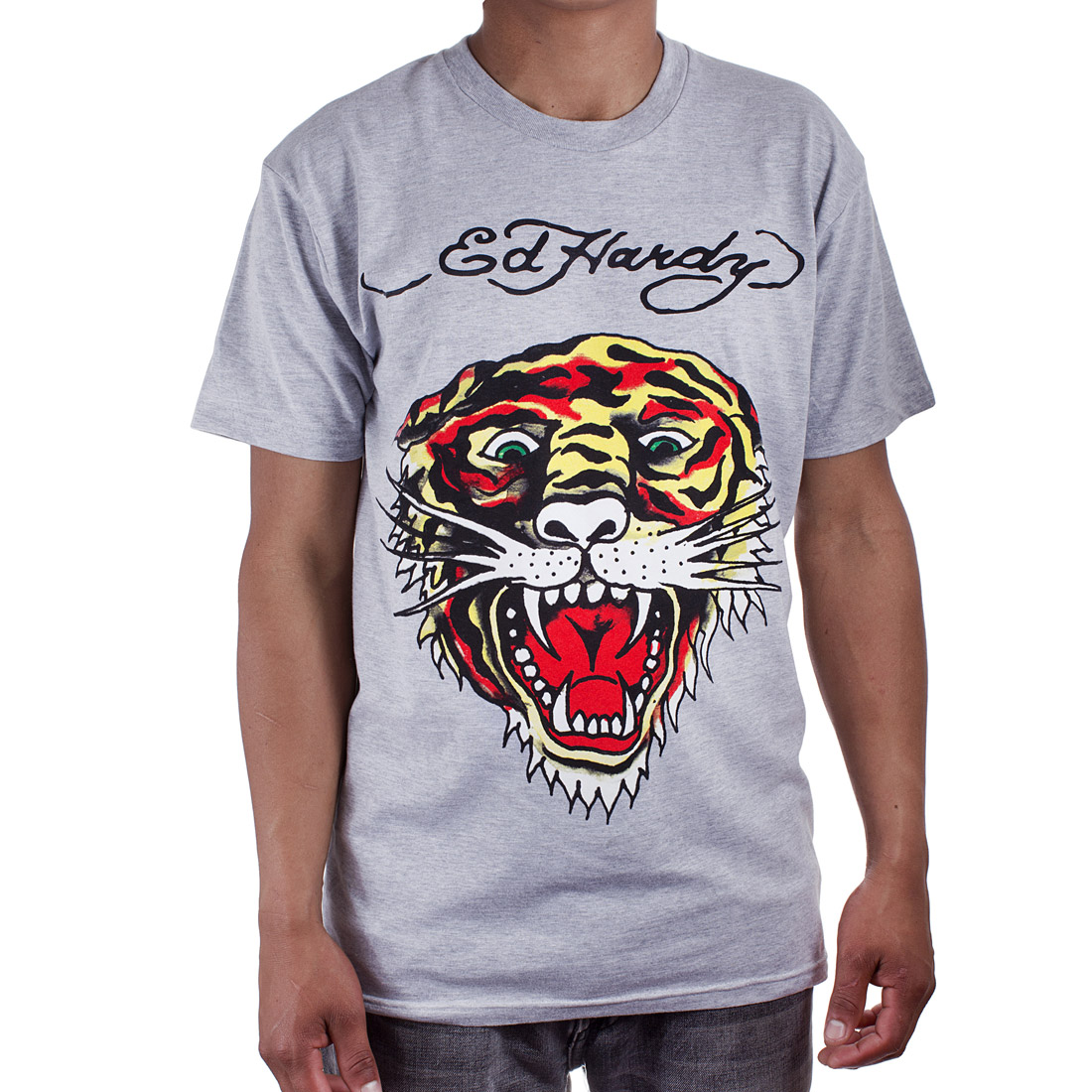 Ed Hardy Mens Tiger Tattoo Graphic Tee Shirt - Grey