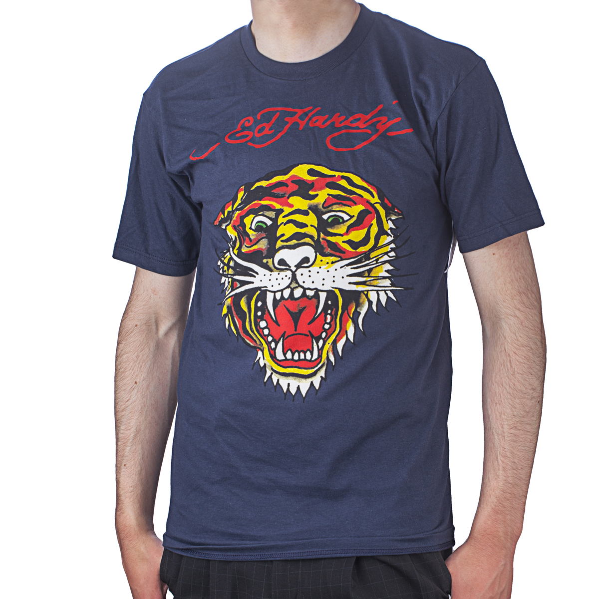 Ed Hardy Mens Tiger Tattoo Graphic Tee Shirt - Navy