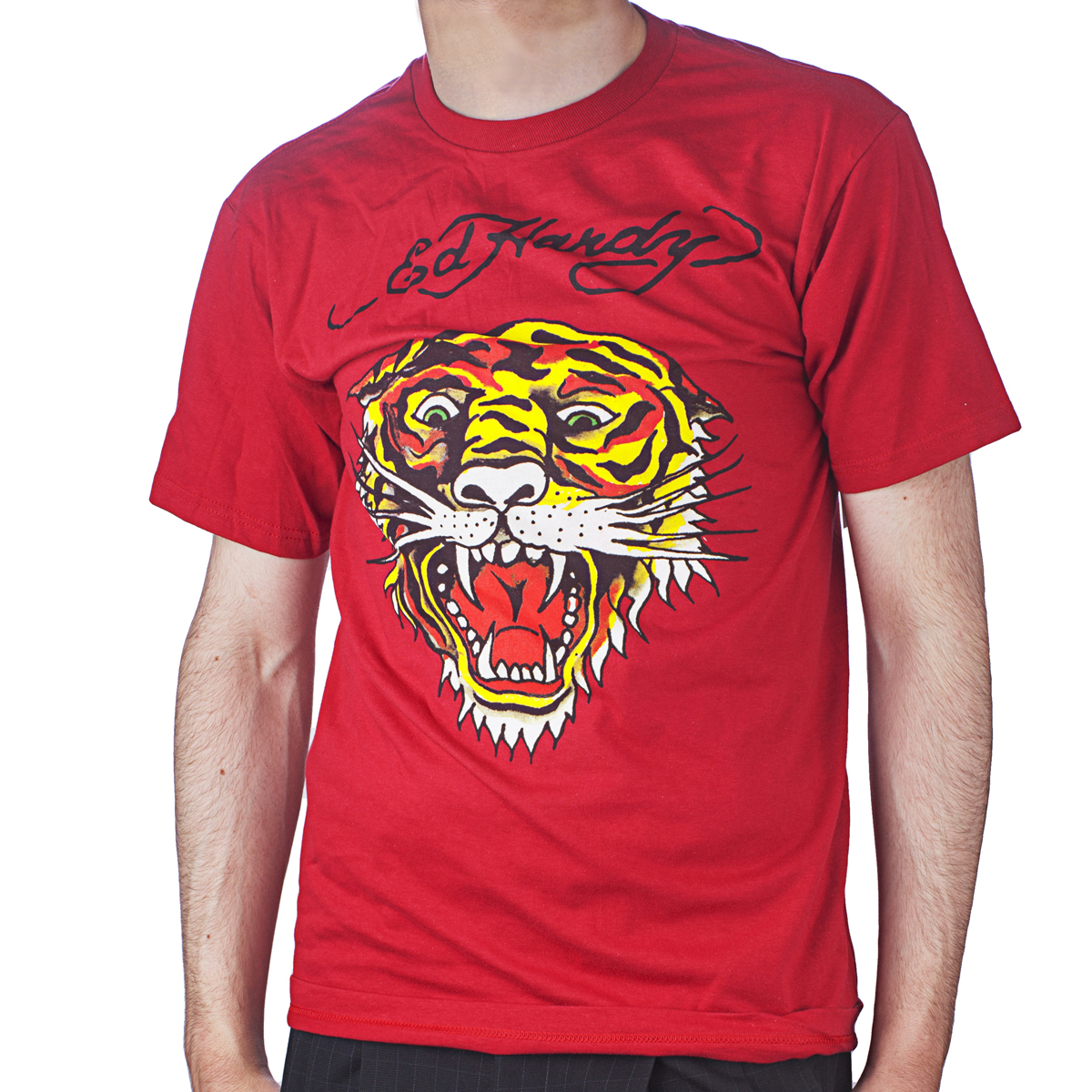 Ed Hardy Mens Tiger Tattoo Graphic Tee Shirt - Red