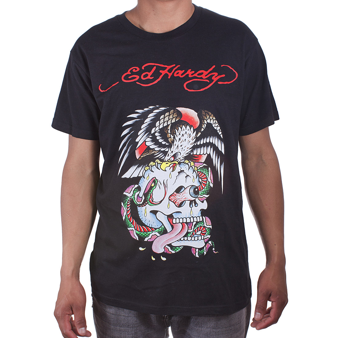 Ed Hardy Mens Eagle and Skull Tattoo Graphic Tee Shirt - Black
