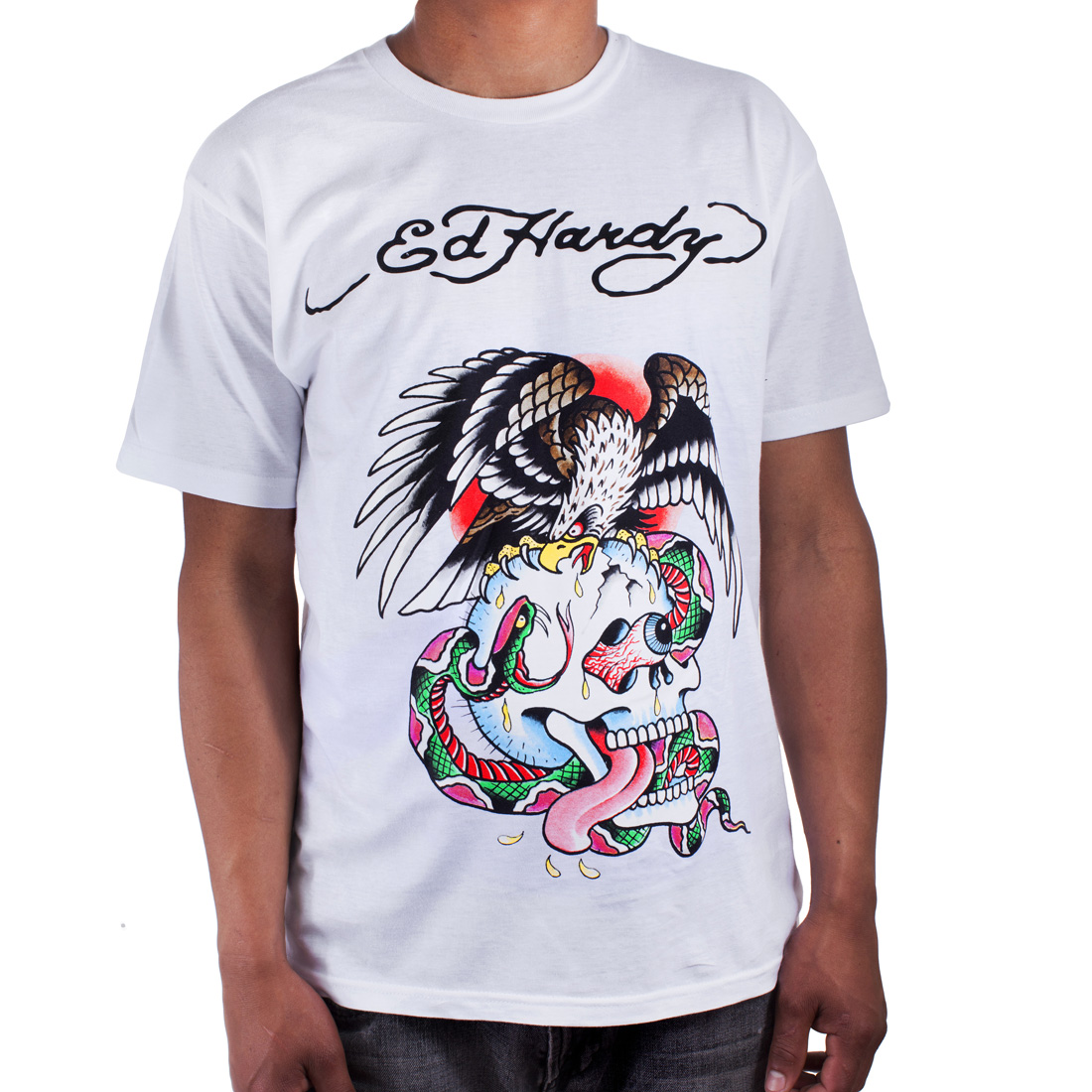 Ed Hardy Mens Eagle and Skull Tattoo Graphic Tee Shirt - White