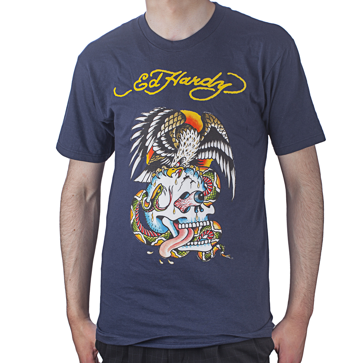 Ed Hardy Mens Eagle and Skull Tattoo Graphic Tee Shirt - Navy