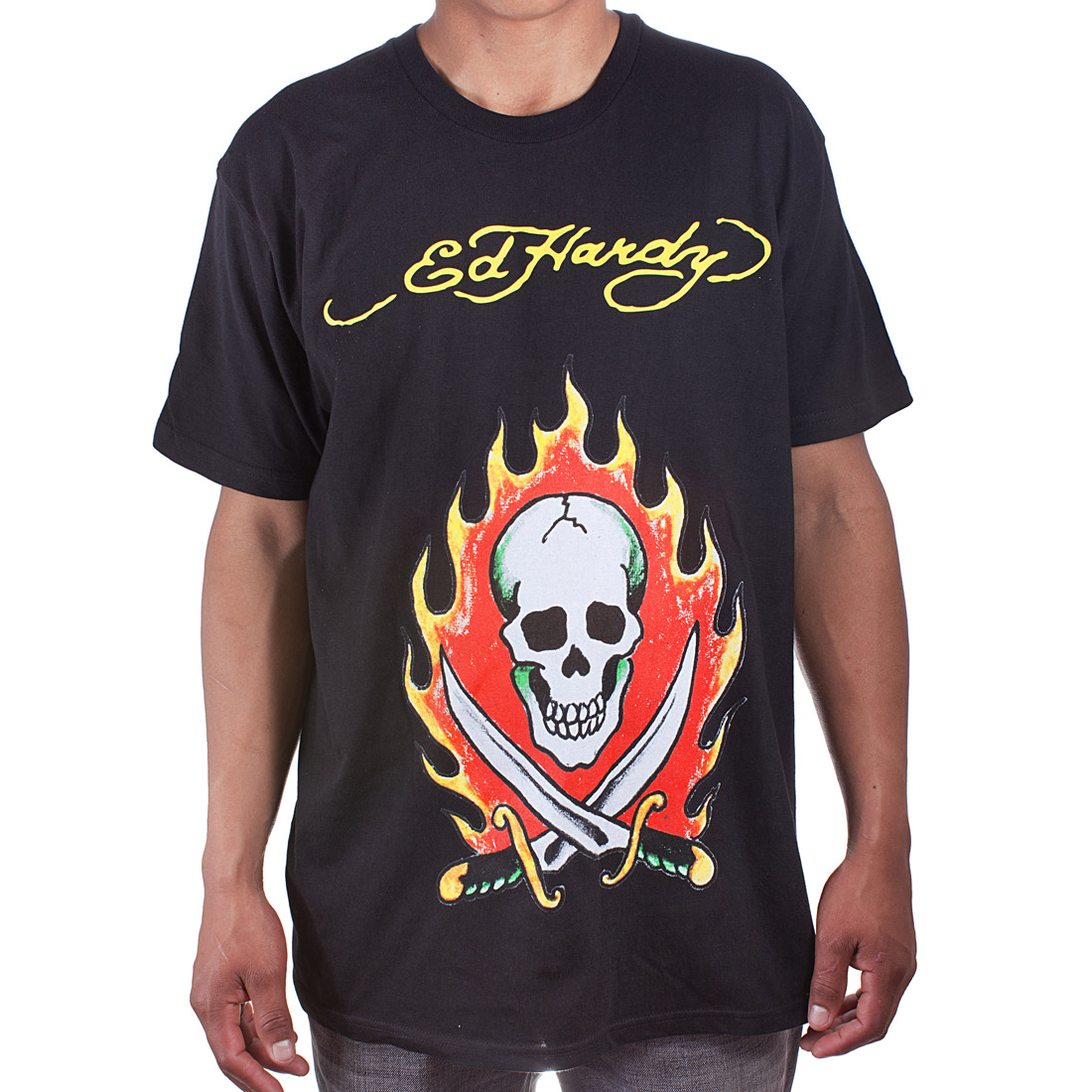 Ed Hardy Mens Flaming Skull Tattoo Graphic Tee Shirt - Black