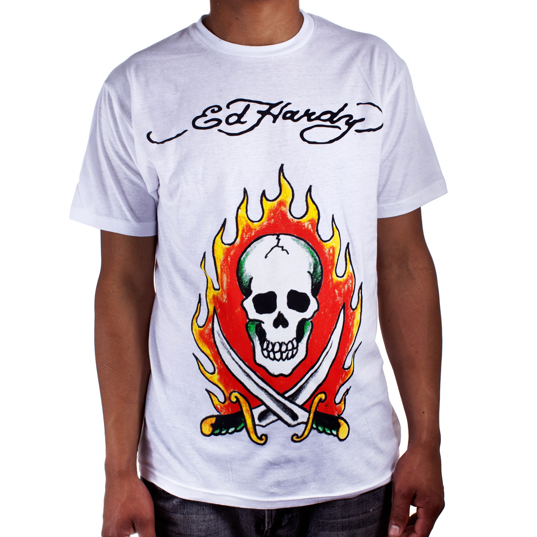 Ed Hardy Mens Flaming Skull Tattoo Graphic Tee Shirt - White