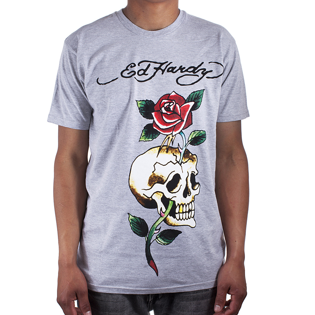 Ed Hardy Mens Rose Skull Tattoo Graphic Tee Shirt - Grey