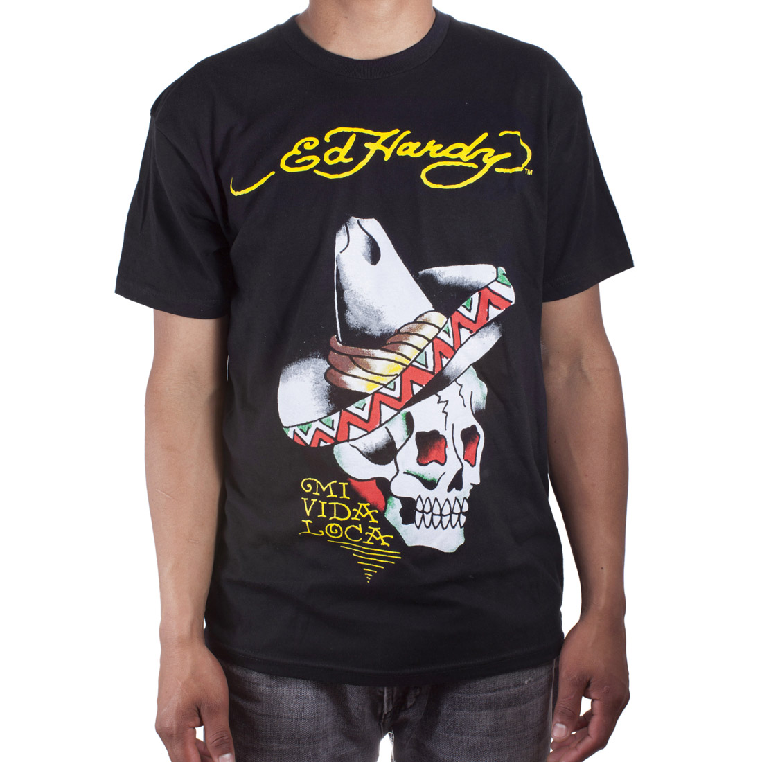 Ed Hardy Mens Sombrero Skull Tattoo Graphic Tee Shirt - Black