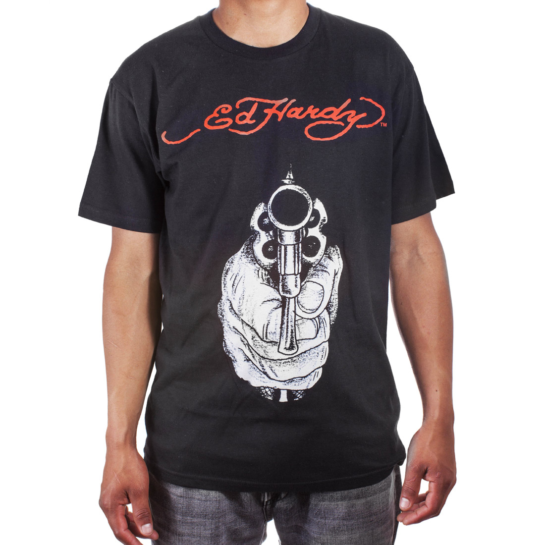 Ed Hardy Mens Gunpoint Tattoo Graphic Tee Shirt - Black