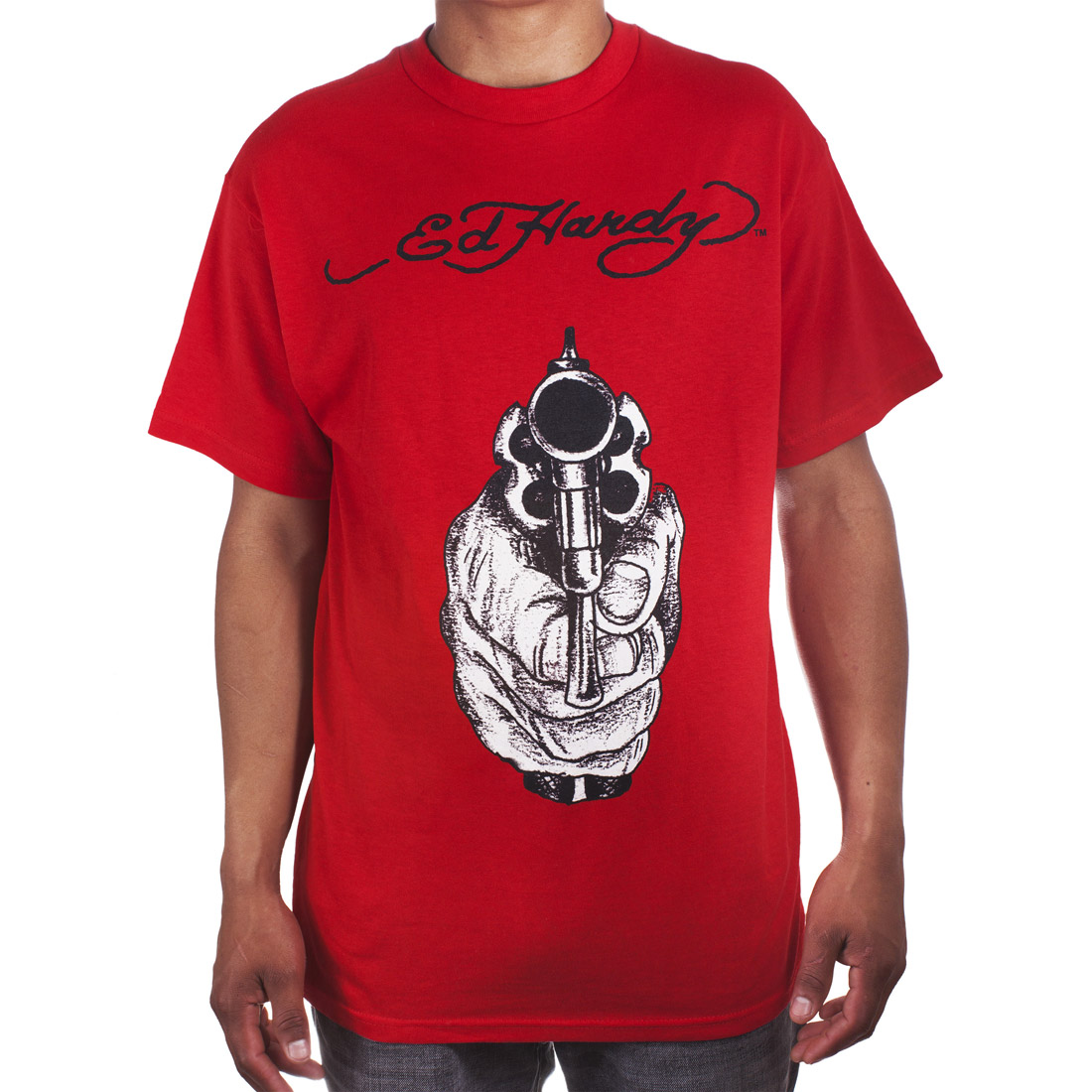 Ed Hardy Mens Gunpoint Tattoo Graphic Tee Shirt - Red
