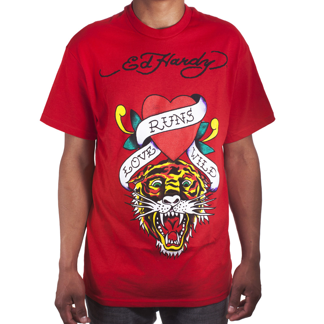 Ed Hardy Mens Love Kills Tiger Tattoo Graphic Tee Shirt - Red
