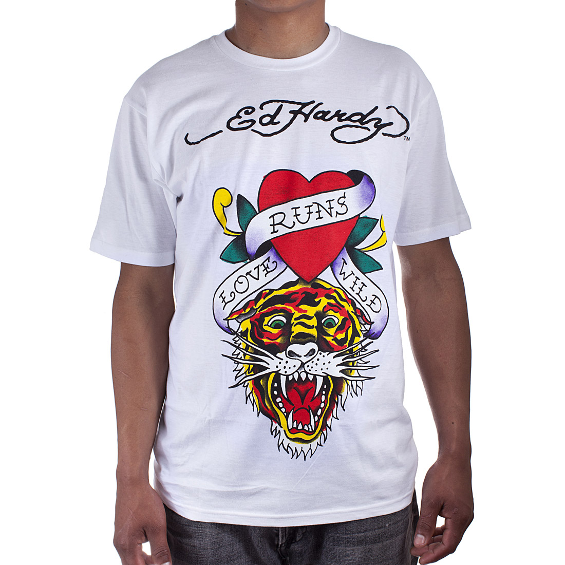 Ed Hardy Mens Love Kills Tiger Tattoo Graphic Tee Shirt - White