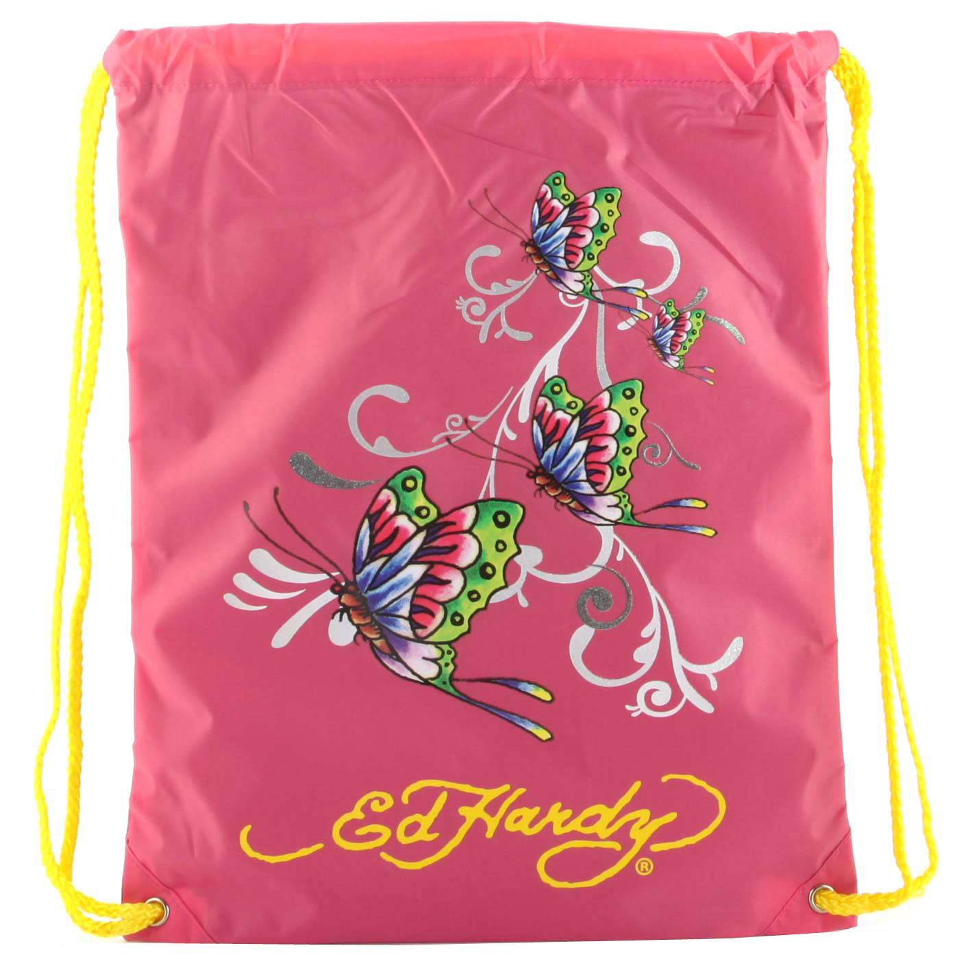 Ed Hardy Drew Drawstring Glitter Butterfly Bag - Hot Pink