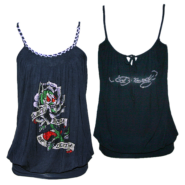 Ed Hardy Womens Black Rose Dress