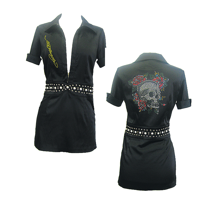Ed Hardy Womens Black Janice Short Sleeve Dress