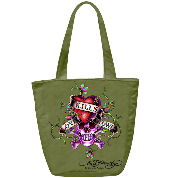 Ed Hardy Ness Love Kills Slowly Tote - Khaki