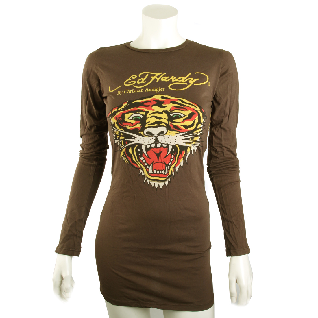 Ed Hardy Womens Basic Tiger Crew Neck Tee Shirt-Chocolate