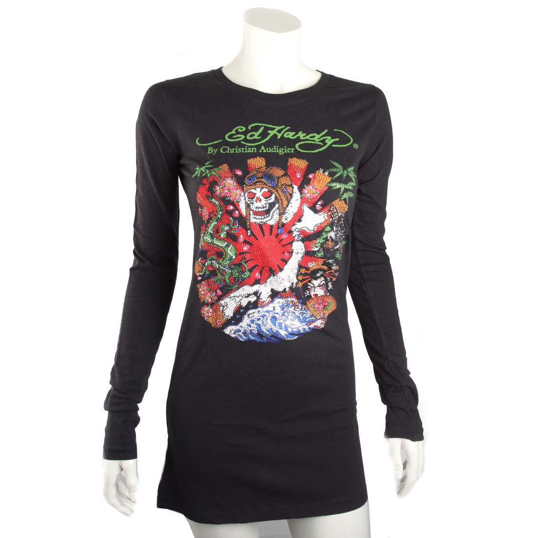 Ed Hardy Womens Japan Platinum Tunic- Black