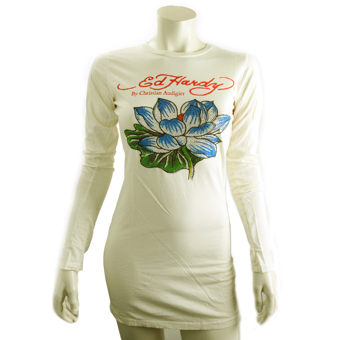 Ed Hardy Womens Lotus Platinum Tunic- Off White