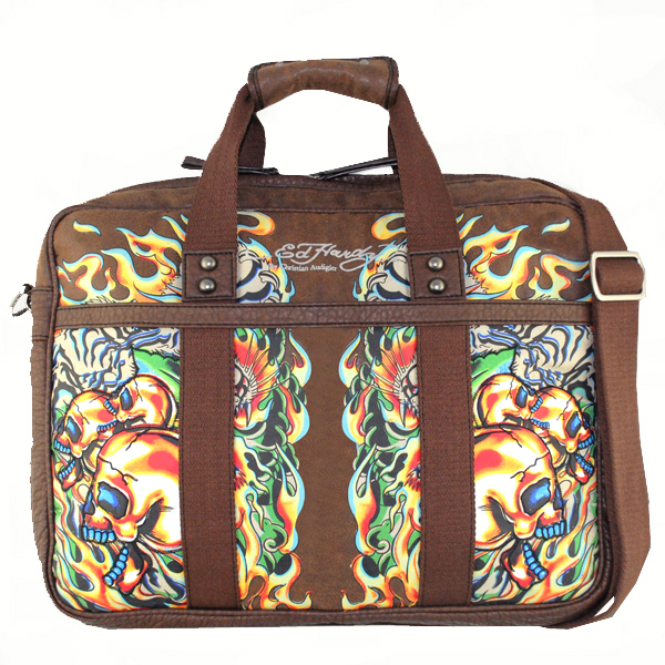 Ed Hardy Mortar Computer Messenger Bag - Brown