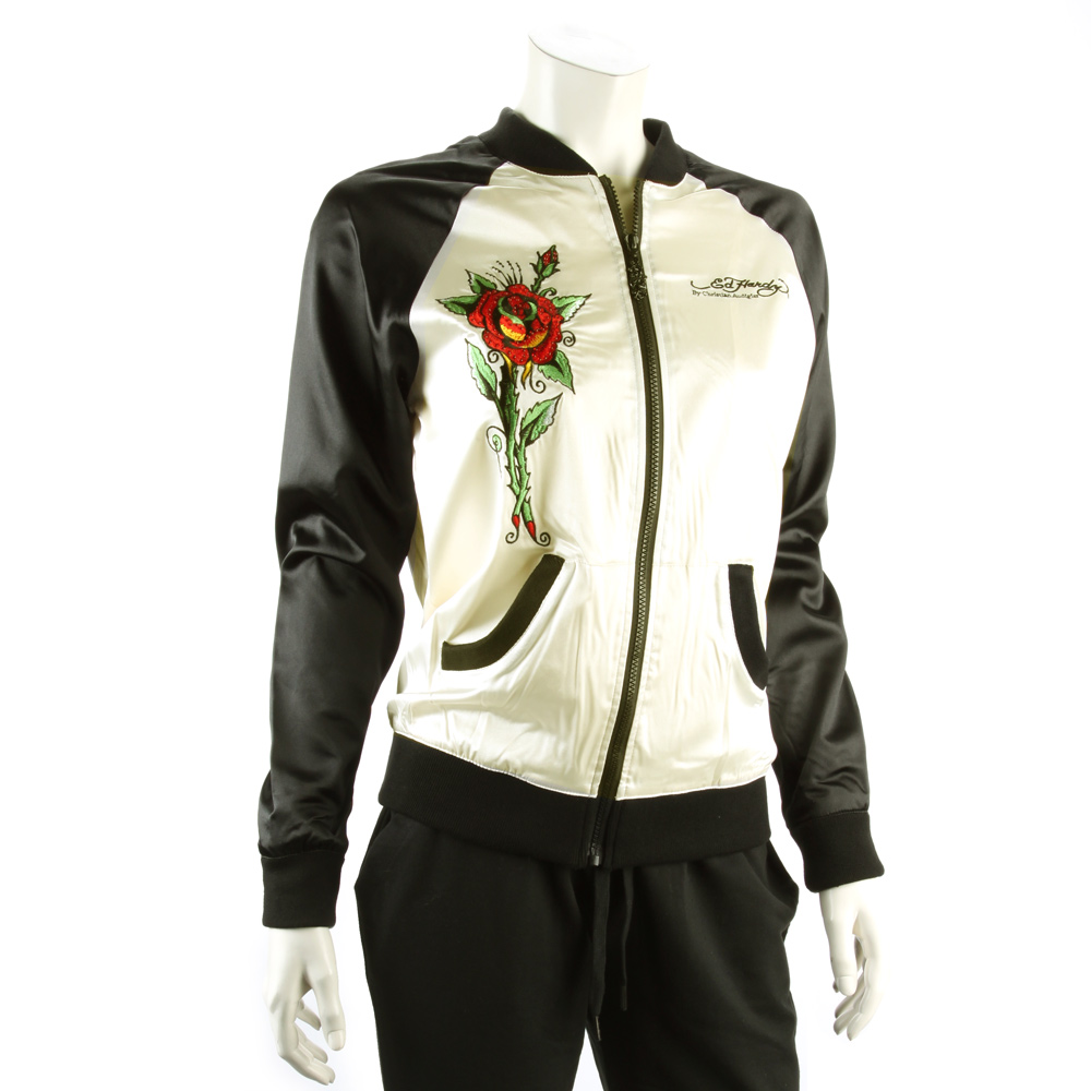 Ed Hardy Women's Red Roses And Skull Windbreaker Jacket - Ivory