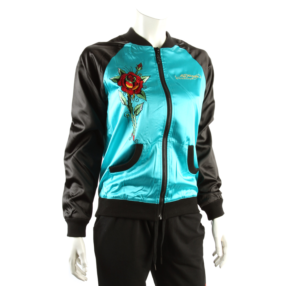 Ed Hardy Women's Butterfly And Skull Windbreaker Jacket -Turquoise