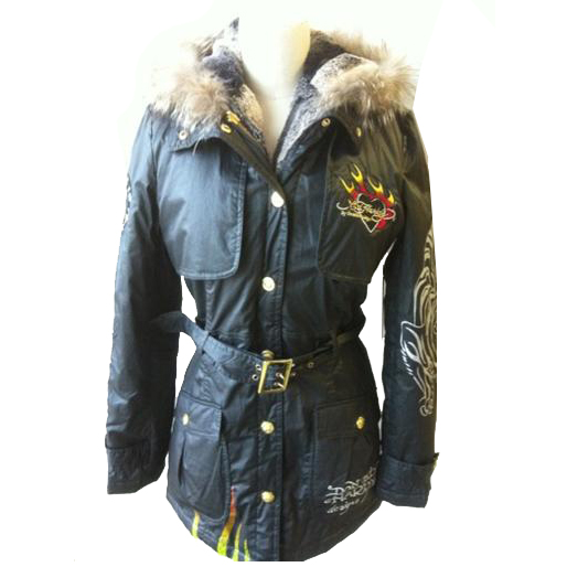 Ed Hardy Women's Tiger Flame Trench Jacket - Charcoal