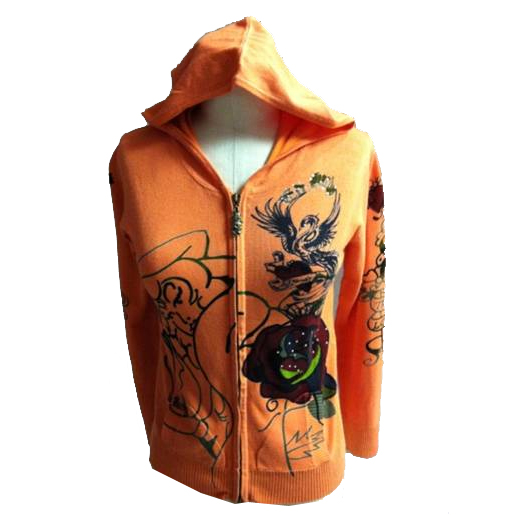 Ed Hardy Girls Flower Zip Up Hoodie - Orange