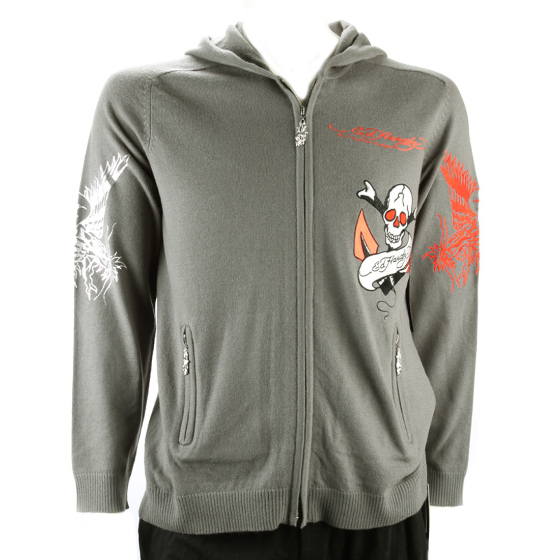 Ed Hardy Mens Love Kills Slowly Hoodie - Grey