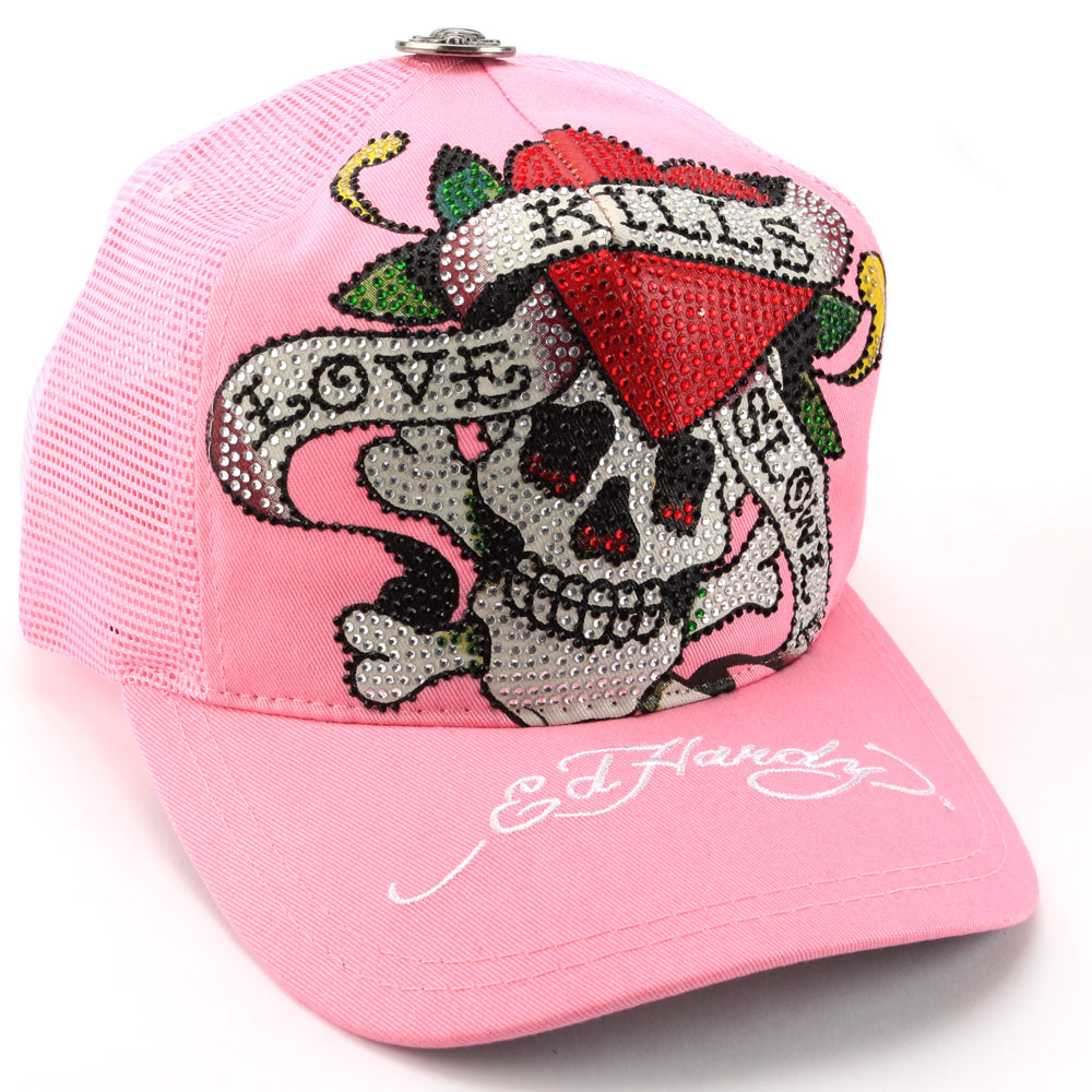 Ed Hardy Rhinestone Platinum Love Kills Slowly Embroidered Mesh Cap-Pink