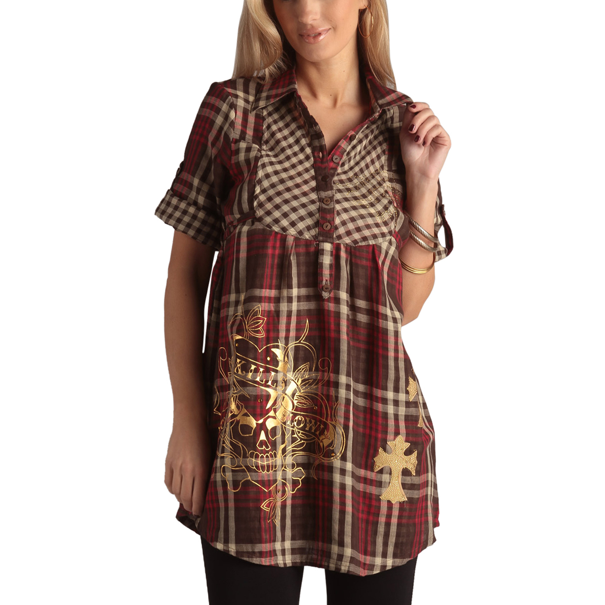 Ed Hardy Womens Cheena Plaid Shirt Dress