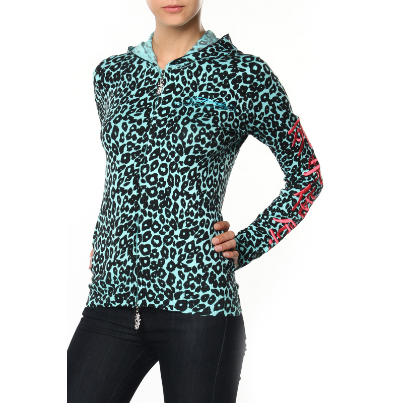Ed Hardy Womens Leopard Zip Up Hoodie - Turquoise