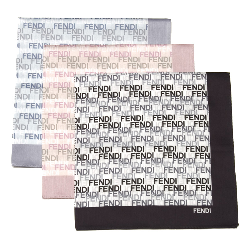 Fendi Bandana Medium Fendi Logo Cotton Scarf
