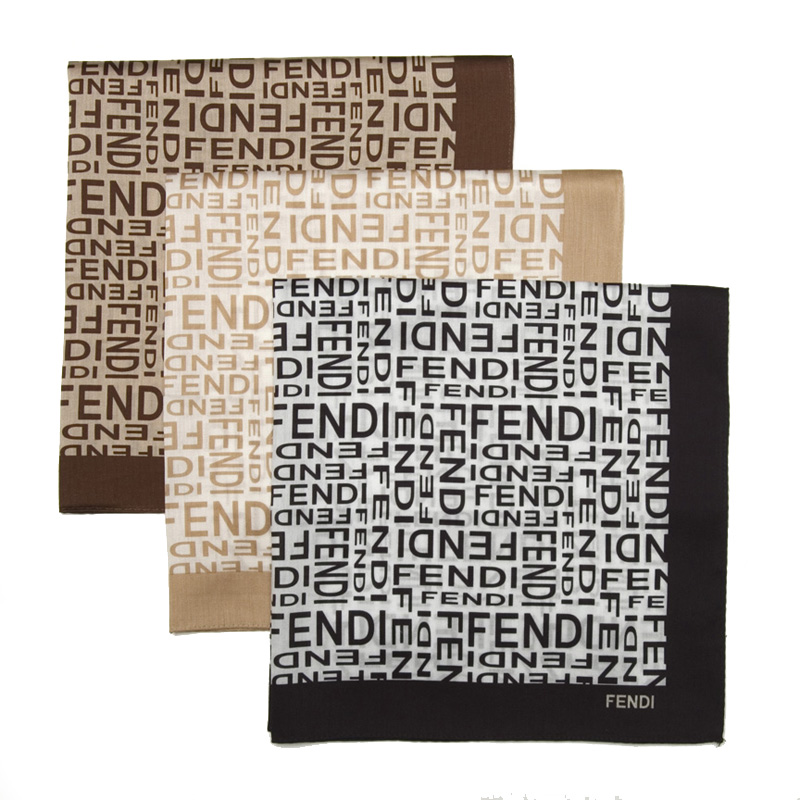 Fendi Bandana Large Fendi Logo Cotton Scarf