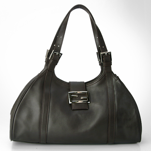 Fendi 8BR091 Large Hobo Leather Handbag - Black