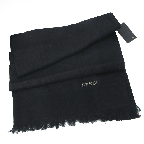 Fendi Knitted Wool/Silk Pashmina Scarf - Black