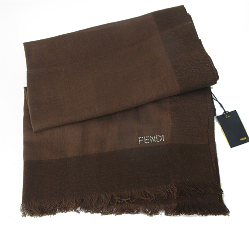 Fendi Knitted Wool/Silk Pashmina Scarf - Brown
