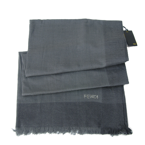 Fendi Knitted Wool/Silk Pashmina Scarf - Gray